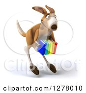 Clipart Of A 3d Kangaroo Hopping Slightly Right And Holding Books Royalty Free Illustration