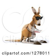 Clipart Of A 3d Kangaroo Facing Right Wearing Sunglasses And Reading A Book Royalty Free Illustration