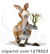 Clipart Of A 3d Kangaroo Holding A Gold Trophy And Facing Slightly Right Royalty Free Illustration