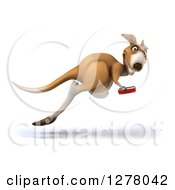 Clipart Of A 3d Kangaroo Smiling Hopping To The Right And Reading A Book Royalty Free Illustration