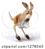 Clipart Of A 3d Kangaroo Hopping Slightly Right And Reading A Book Royalty Free Illustration