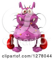 Clipart Of A 3d Purple Germ Virus Wearing Boxing Gloves Royalty Free Illustration