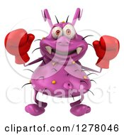 Clipart Of A 3d Purple Germ Virus Holding Up Boxing Gloves Royalty Free Illustration