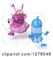 Clipart Of A 3d Purple Germ Virus Chasing A Blue Condom Royalty Free Illustration by Julos