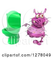 Clipart Of A 3d Purple Germ Virus Plugging His Nose And Pointing To A Toilet Royalty Free Illustration