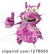 Clipart Of A 3d Purple Germ Virus Holding Up A Thumb Royalty Free Illustration