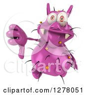 Clipart Of A 3d Purple Germ Virus Holding Up A Thumb Down Royalty Free Illustration