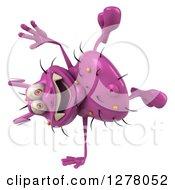 Clipart Of A 3d Purple Germ Virus Cartwheeling Royalty Free Illustration