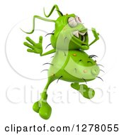 Clipart Of A 3d Green Germ Virus Facing Right And Jumping Royalty Free Illustration
