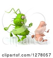 Clipart Of A 3d Green Germ Virus Chasing A Foot Royalty Free Illustration