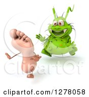 Clipart Of A 3d Green Germ Virus Chasing A Foot 2 Royalty Free Illustration