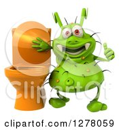 Clipart Of A 3d Green Germ Virus Holding A Thumb Up By A Toilet Royalty Free Illustration