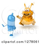 Clipart Of A 3d Yellow Germ Virus Chasing A Blue Condom Royalty Free Illustration