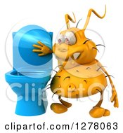 Clipart Of A 3d Yellow Germ Virus Looking In A Toilet Royalty Free Illustration