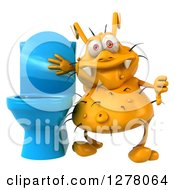 Clipart Of A 3d Yellow Germ Virus Holding A Thumb Down By A Toilet Royalty Free Illustration