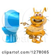 Clipart Of A 3d Yellow Germ Virus Pointing To A Toilet Royalty Free Illustration