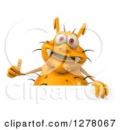 Clipart Of A 3d Yellow Germ Virus Holding A Thumb Up Over A Sign Royalty Free Illustration