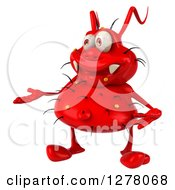 Clipart Of A 3d Red Germ Virus Presenting To The Left Royalty Free Illustration