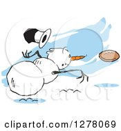 Clipart Of A Winter Snowman Dropping His Top Hat While Throwing A Football Over Blue Streaks Royalty Free Vector Illustration