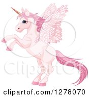 Clipart Of A Rearing Pink Winged Fairy Unicorn Pegasus Horse With Sparkly Hair Royalty Free Vector Illustration