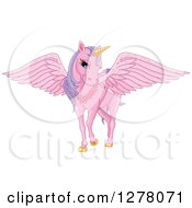 Clipart Of A Pink Fairy Unicorn Pegasus Horse With Sparkly Wings Royalty Free Vector Illustration
