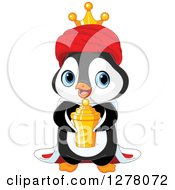 Cute Penguin King Holding A Gold Urn