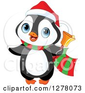 Clipart Of A Cute Christmas Penguin Ringing A Charity Bell Royalty Free Vector Illustration