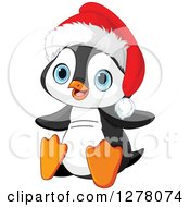 Clipart Of A Cute Christmas Penguin Sitting And Wearing A Santa Hat Royalty Free Vector Illustration by Pushkin