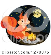 Clipart Of A Cute Squirrel Warming Up By A Campfire At Night Royalty Free Vector Illustration