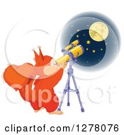 Cute Squirrel Viewing The Moon And Stars Through A Telescope