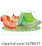 Clipart Of A Cute Squirrel Smiling And Setting Up A Camping Tent Royalty Free Vector Illustration