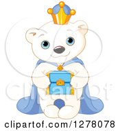 Clipart Of A Cute Polar Bear King Holding A Box Royalty Free Vector Illustration