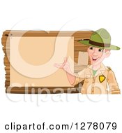 Clipart Of A Friendly White Male Park Ranger Presenting Notices On A Board Royalty Free Vector Illustration