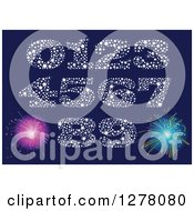 Clipart Of Sparkly Star Numbers And New Year Fireworks Royalty Free Vector Illustration