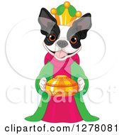 Clipart Of A Cute Boston Terrier King Holding A Gold Urn Royalty Free Vector Illustration