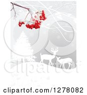 Clipart Of A Christmas Winter Background Of Red Berries Over Silhouetted Deer In The Snow Royalty Free Vector Illustration