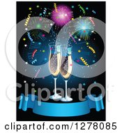 New Year Champagne Flutes Over Fireworks And Confetti With A Blank Blue Ribbon Banner