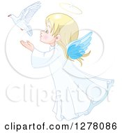Clipart Of A Cute Blond White Angel Girl Releasing A Dove Royalty Free Vector Illustration