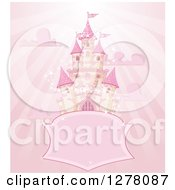 Clipart Of A Pink Fairy Tale Castle In The Sky With A Blank Shield Sign Clouds And Rays Royalty Free Vector Illustration