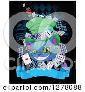 Clipart Of A Cheshire Cat Wearing A Hat And Surrounded With Cards Over A Clock And Blank Banner Royalty Free Vector Illustration by Pushkin