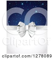 Silver Gift Bow And White Text Space With Stars And Sparkles