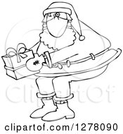 Black And White Santa Wearing A Mask And Holding A Christmas Gift