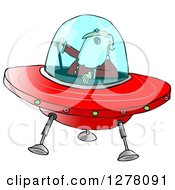 Clipart Of Santa Claus Piloting A Christmas Flying Saucer Royalty Free Illustration