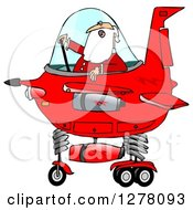 Clipart Of Santa Claus Piloting A Christmas Starship Royalty Free Illustration