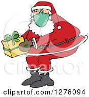 Clipart Of Santa Claus Wearing A Mask And Holding A Christmas Gift Royalty Free Vector Illustration