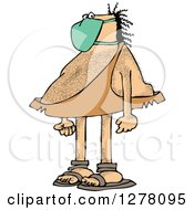 Clipart Of A Hairy Caveman Wearing A Mask Royalty Free Vector Illustration by djart