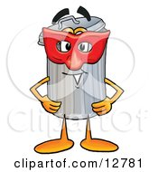Garbage Can Mascot Cartoon Character Wearing A Red Mask Over His Face by Toons4Biz