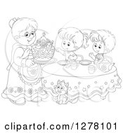 Black And White Granny Serving A Christmas Cake To Children And A Cat At A Tea Party