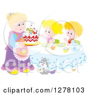 Happy Blond Caucasian Granny Serving A Christmas Cake To Children And A Cat At A Tea Party