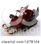 3d Christmas Santa Driving A Sleigh Mobile